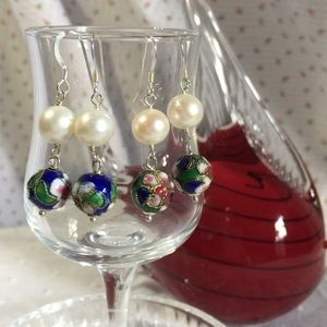 Pearl and cloisonné earrings